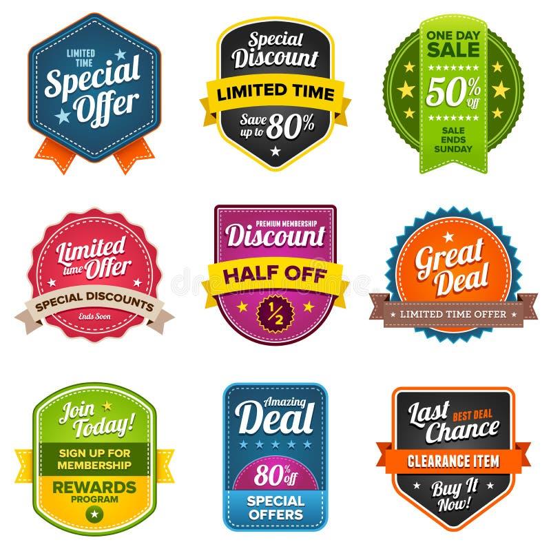 Escrituras de la etiqueta de las ventas stock de ilustración