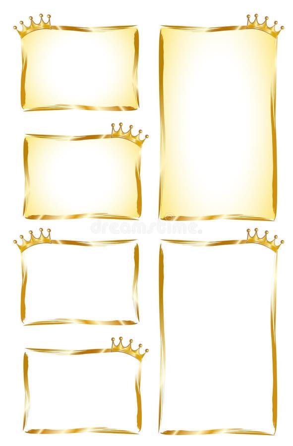 Escrituras de la etiqueta de oro stock de ilustración