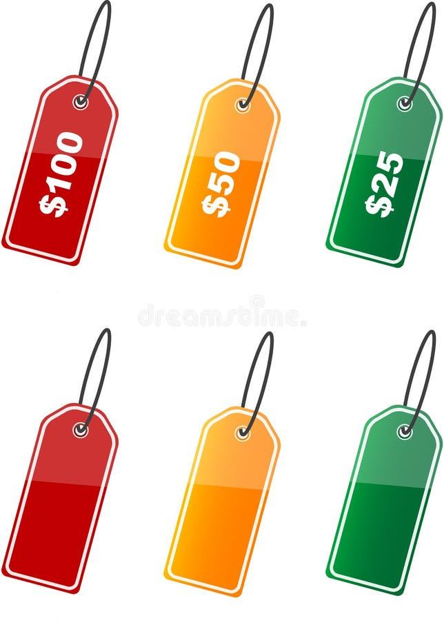 Escrituras de la etiqueta de precio coloreadas   libre illustration