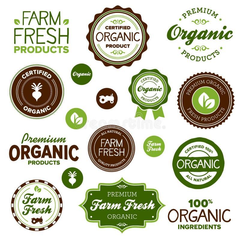 Escrituras de la etiqueta del alimento biológico stock de ilustración