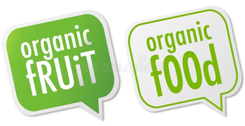 Escrituras de la etiqueta del alimento biológico y de la fruta ilustración del vector