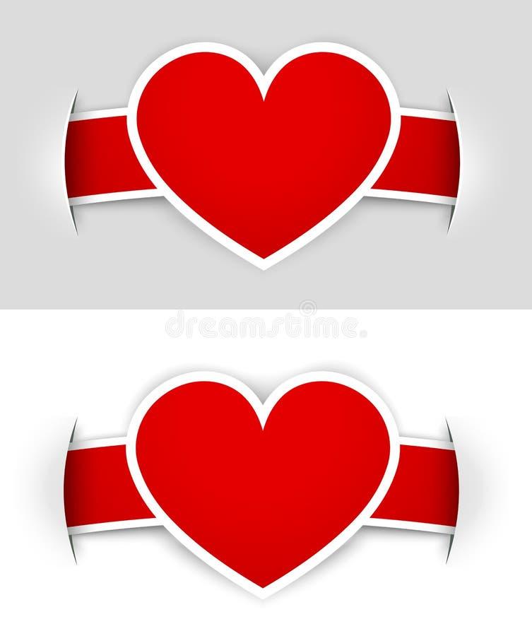 Escrituras de la etiqueta del corazón ilustración del vector