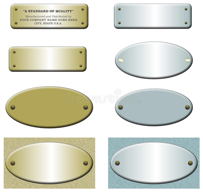 Escrituras de la etiqueta del metal con los remaches, el oro y el azul imagen de archivo libre de regalías