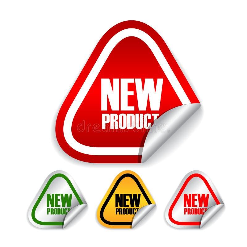 Escrituras de la etiqueta del nuevo producto ilustración del vector