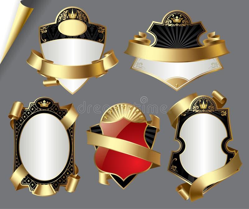 Escrituras de la etiqueta del oro de la vendimia ilustración del vector