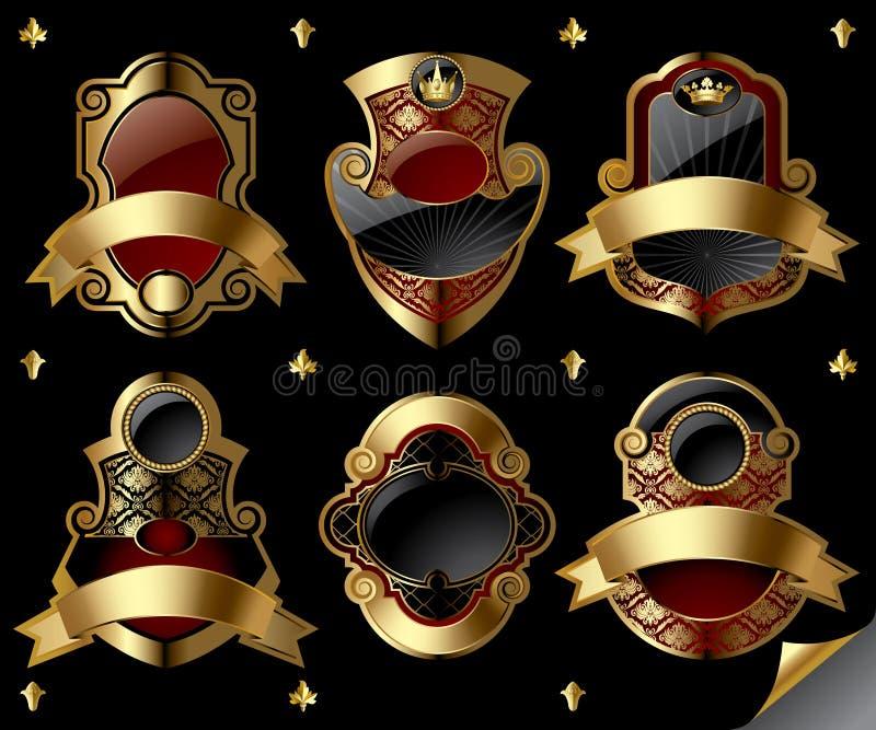 Escrituras de la etiqueta del oro de la vendimia stock de ilustración