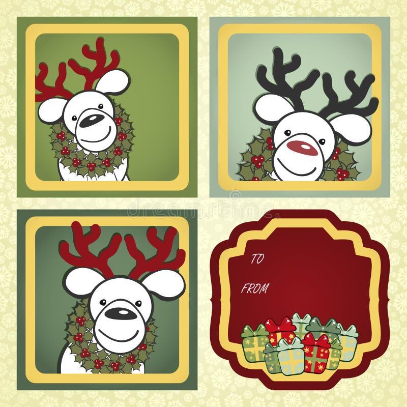 Escrituras de la etiqueta del regalo de la Navidad stock de ilustración