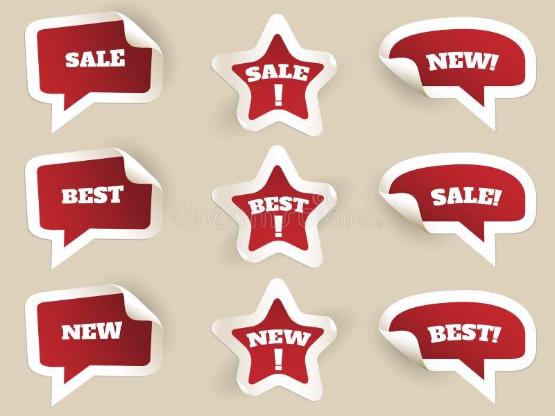 Escrituras de la etiqueta del rojo Nuevo, mejor y venta ilustración del vector