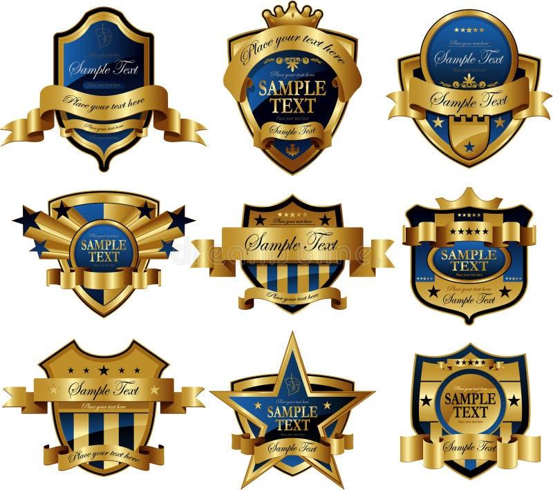 Escrituras de la etiqueta enmarcadas oro del casino stock de ilustración