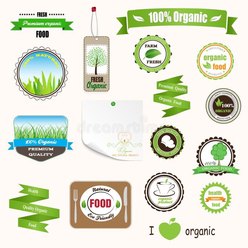 Escrituras de la etiqueta, logotipos y etiquetas engomadas orgánicos stock de ilustración