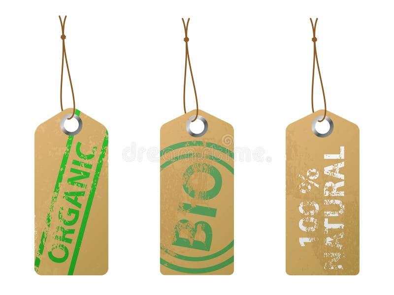 Escrituras de la etiqueta naturales stock de ilustración