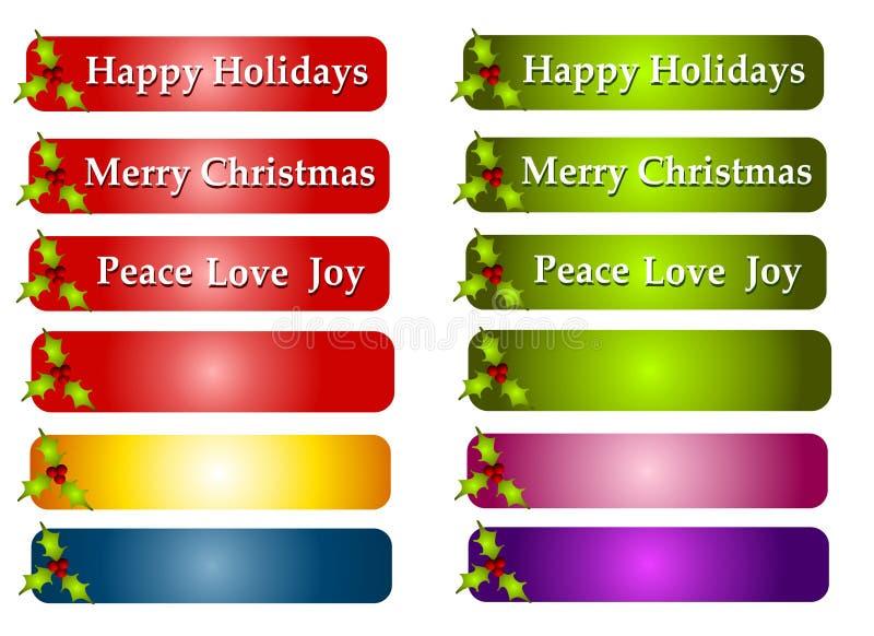 Escrituras de la etiqueta o insignias del saludo de la Navidad ilustración del vector