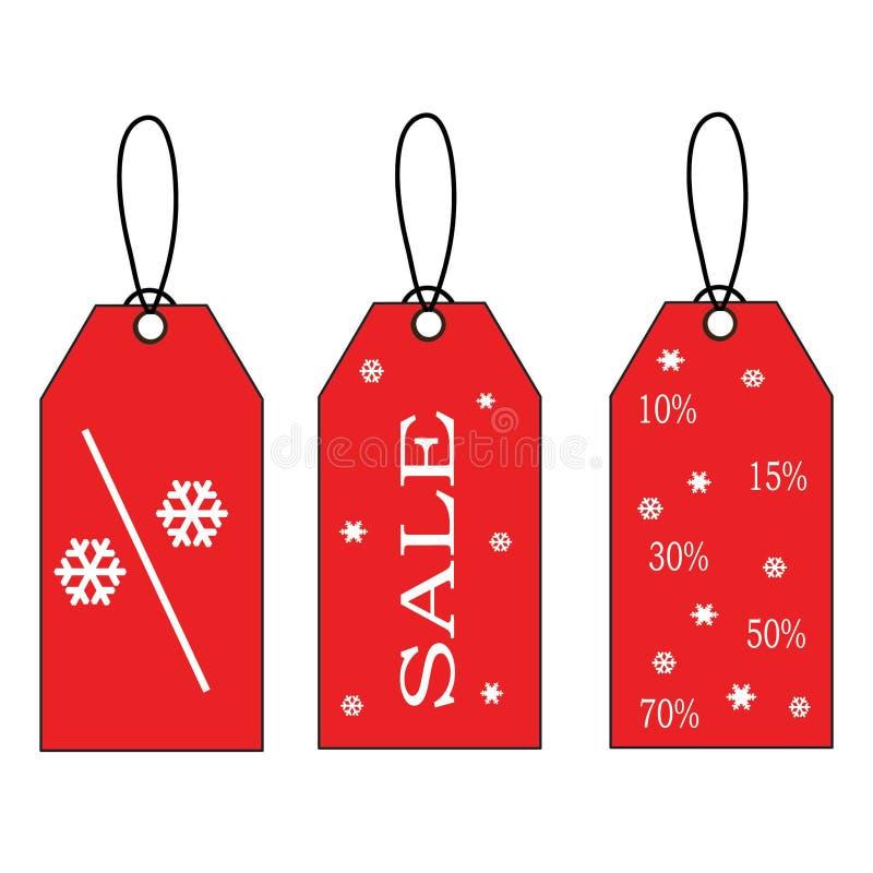 Escrituras de la etiqueta rojas de la venta de la Navidad libre illustration
