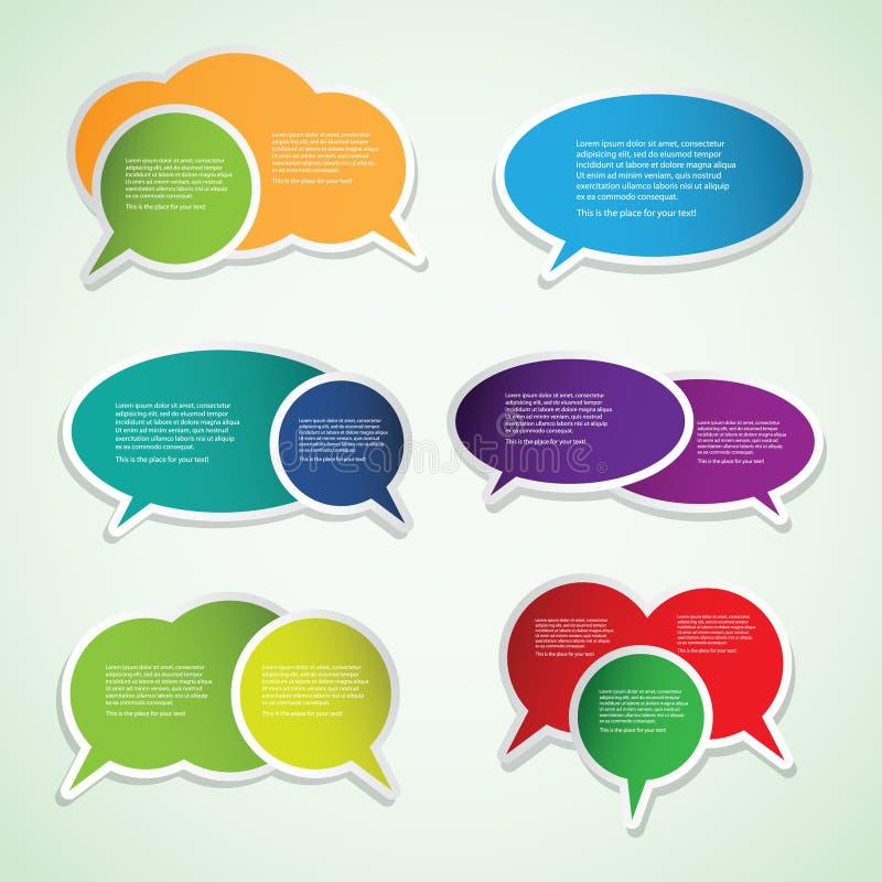 Escrituras de la etiqueta y etiquetas coloridas del discurso ilustración del vector