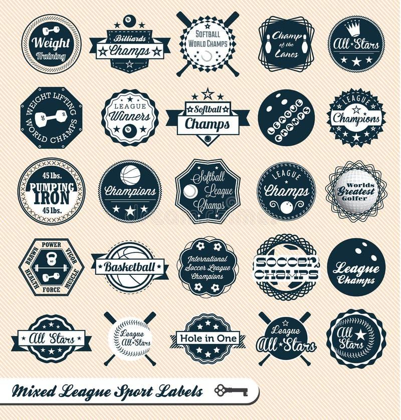 Escrituras de la etiqueta y etiquetas engomadas mezcladas de la liga de los deportes ilustración del vector