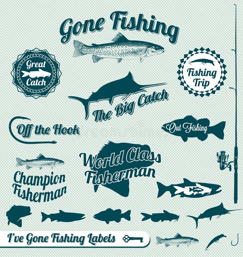 Escrituras de la etiqueta y etiquetas engomadas pesqueras idas stock de ilustración
