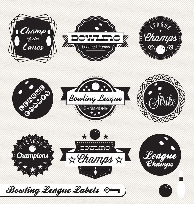 Escrituras de la etiqueta y etiquetas engomadas retras de la liga de bowling ilustración del vector