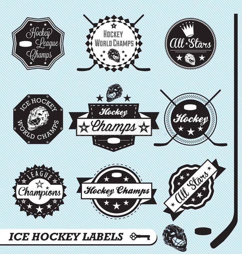 Escrituras de la etiqueta y etiquetas engomadas retras de la liga de hockey stock de ilustración