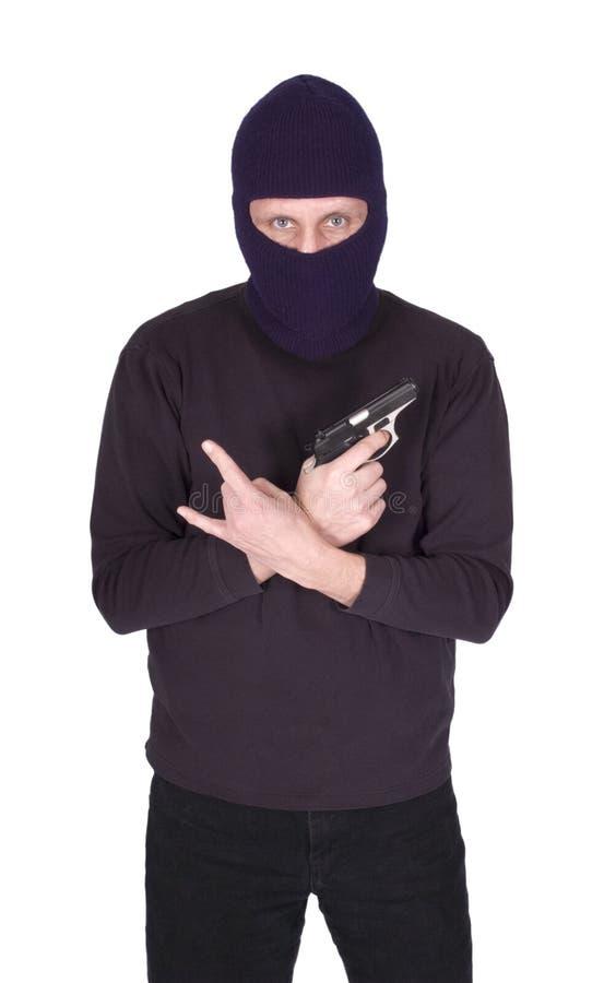 Escroc d'homme de Cocept de violence de troupe avec le canon d'isolement photos libres de droits