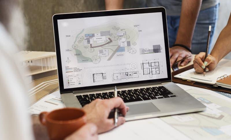 Escroquerie d'ordinateur portable de Creative Occupation Blueprint d'architecte de studio de conception images libres de droits