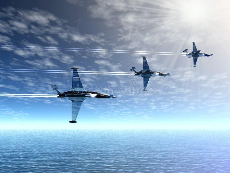 Escuadrón de caza. Aviones militares stock de ilustración