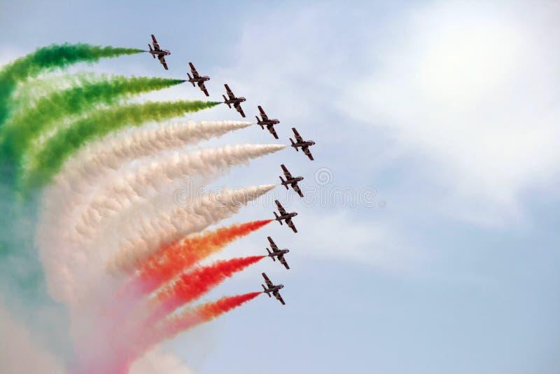 Escuadrilla aeroacrobacia de Italia fotos de archivo libres de regalías