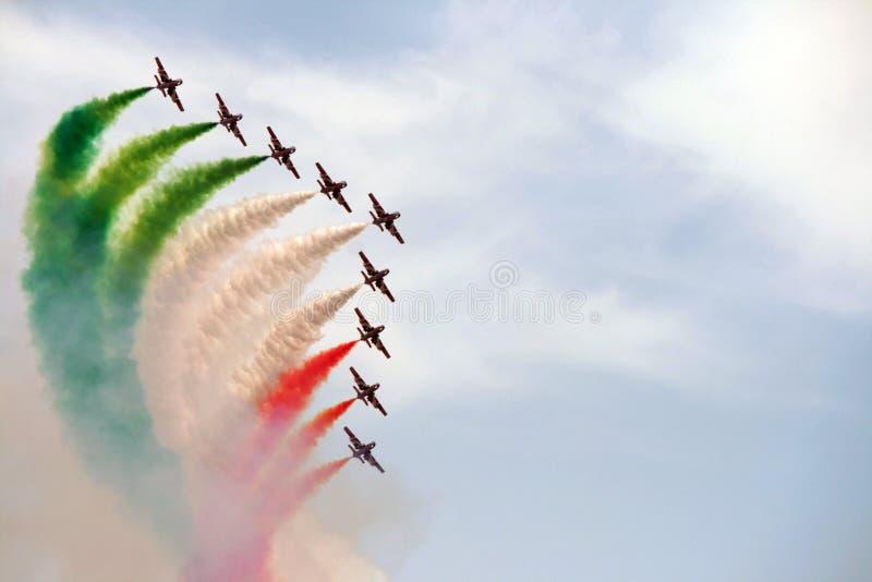 Escuadrilla aeroacrobacia de Italia imágenes de archivo libres de regalías