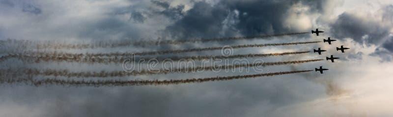 Escuadrilla aeroacrobacia del suisse de Patrouille de la fuerza aérea suiza fotografía de archivo libre de regalías