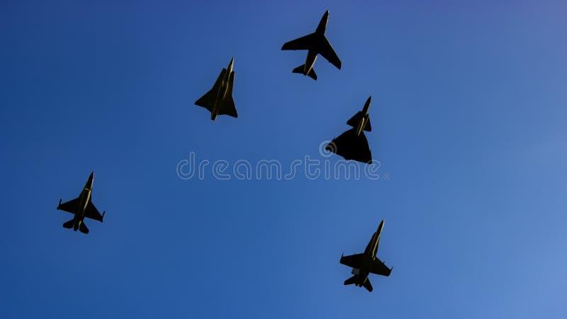 Escuadrilla del combate de aviones supersónicos foto de archivo libre de regalías