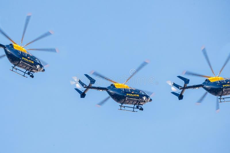 Escuadrilla del helicóptero policial imágenes de archivo libres de regalías