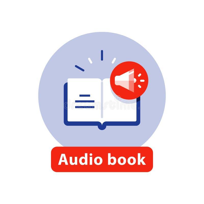 Escucha la literatura, icono plano del libro audio, libro abierto, ejemplo del vector libre illustration