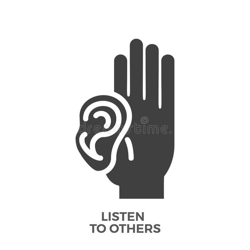 Escucha otros el icono del vector del Glyph ilustración del vector