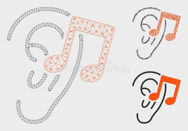 Escuchan el vector Mesh Carcass Model de la música y el icono del mosaico del triángulo stock de ilustración