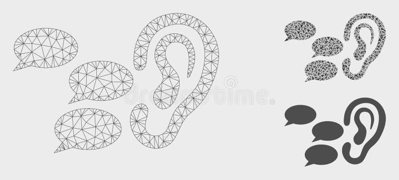 Escuchan el vector Mesh Carcass Model de los chismes y el icono del mosaico del triángulo ilustración del vector