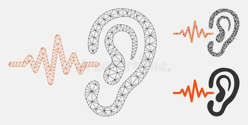 Escuchan el vector Mesh Network Model y el icono del mosaico del triángulo ilustración del vector