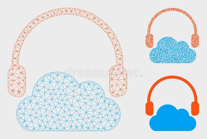 Escuchan el vector Mesh Wire Frame Model de la nube y el icono del mosaico del triángulo stock de ilustración