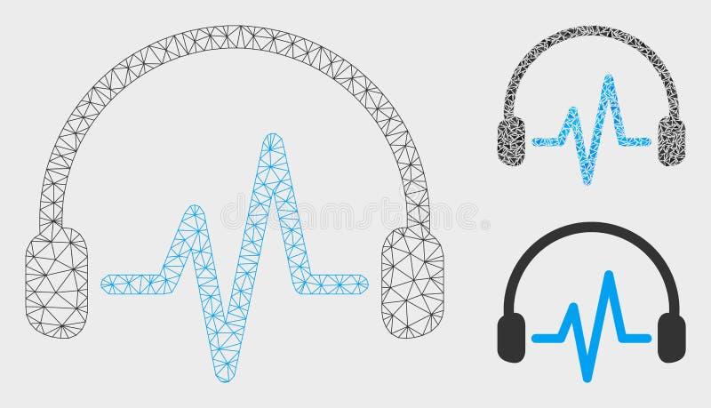 Escuchan el vector Mesh Wire Frame Model y el icono del mosaico del triángulo ilustración del vector