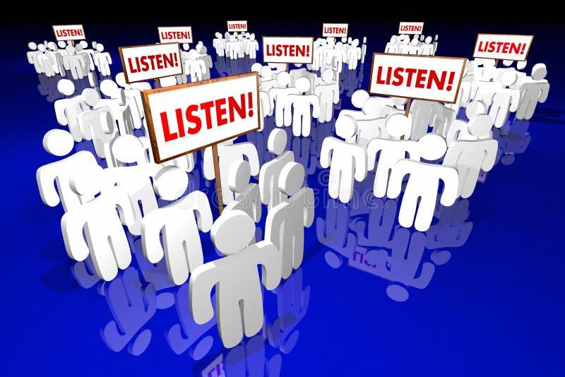 Escuchan las palabras de la audiencia de las muestras de la gente de la atención de la paga stock de ilustración