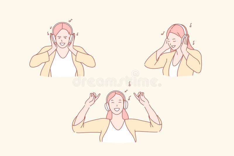 Escuchar música, danza y relajación, concepto de disfrute stock de ilustración