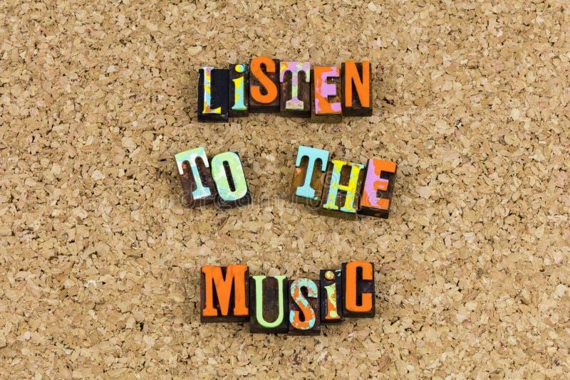 Escuche la expresión de la música musical imagen de archivo libre de regalías