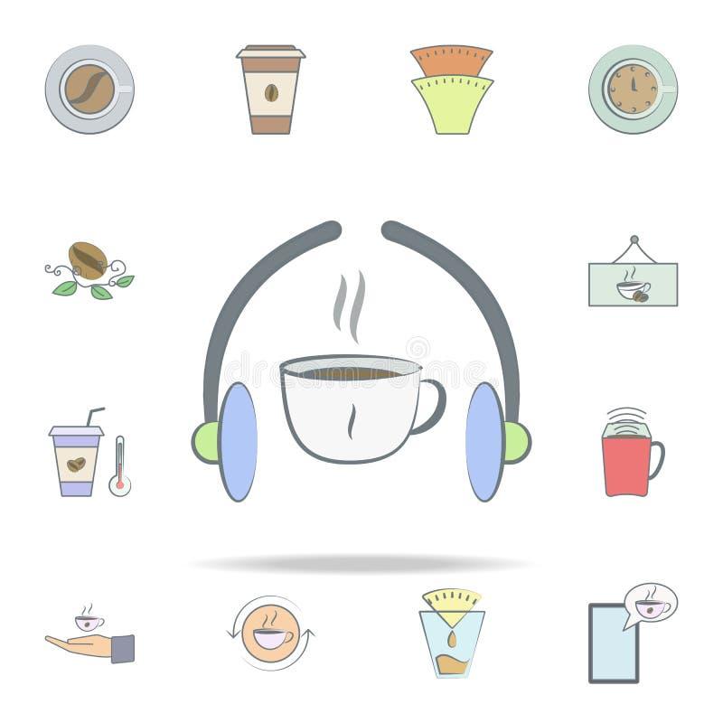 escuche la música icono del café sistema universal de los iconos del café para la web y el móvil stock de ilustración