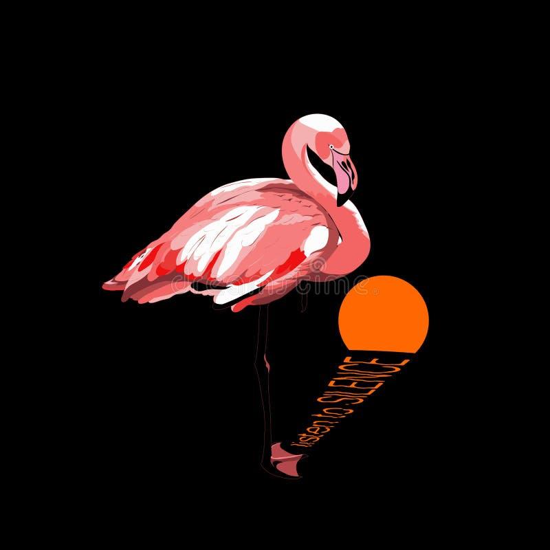 escuche para silenciar el texto flamenco del rosa del vector y luna anaranjada reflexión lunar en el agua diseño simple de la imp libre illustration