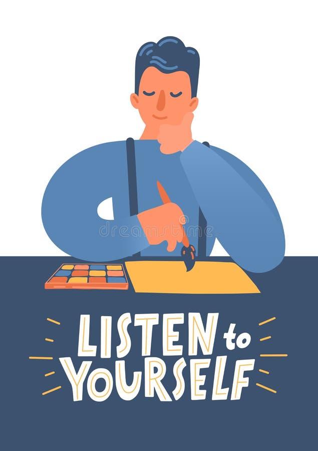 Escuche s? mismo Hombre que piensa qu? dibujar en el papel stock de ilustración