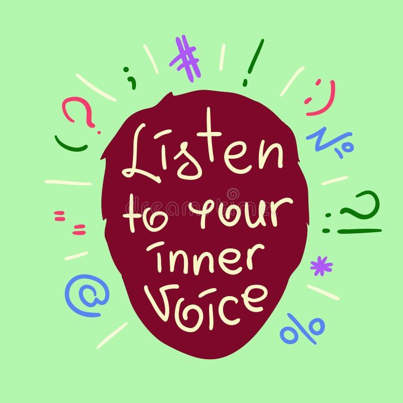 Escuche su voz interna stock de ilustración