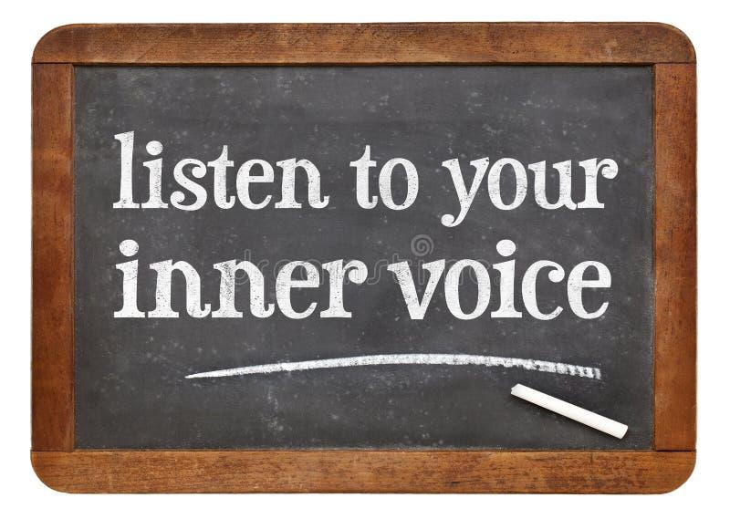 Escuche su voz interna fotografía de archivo