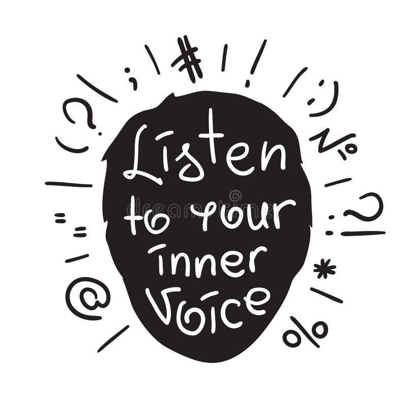 Escuche su voz interna - cita de motivación manuscrita Impresión para el cartel inspirador, stock de ilustración
