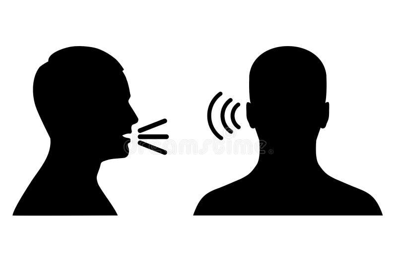 escuche y hable el icono, la voz o el símbolo sano stock de ilustración