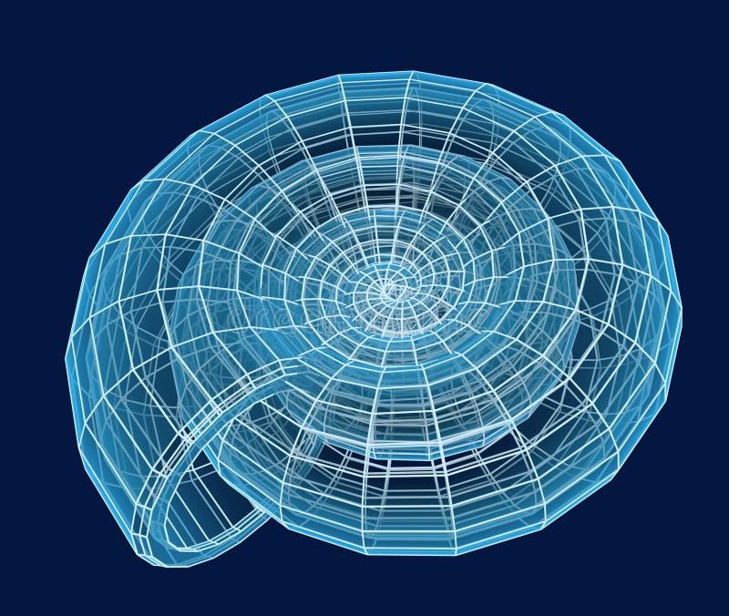 Escudo 3d espiral abstrato de uma grade azul ilustração stock
