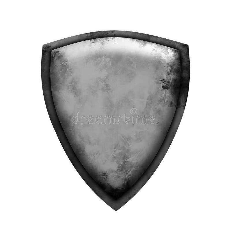 Escudo antiguo en fondo blanco aislado Escudo del concepto para el juego, la tarjeta o el app ilustración del vector