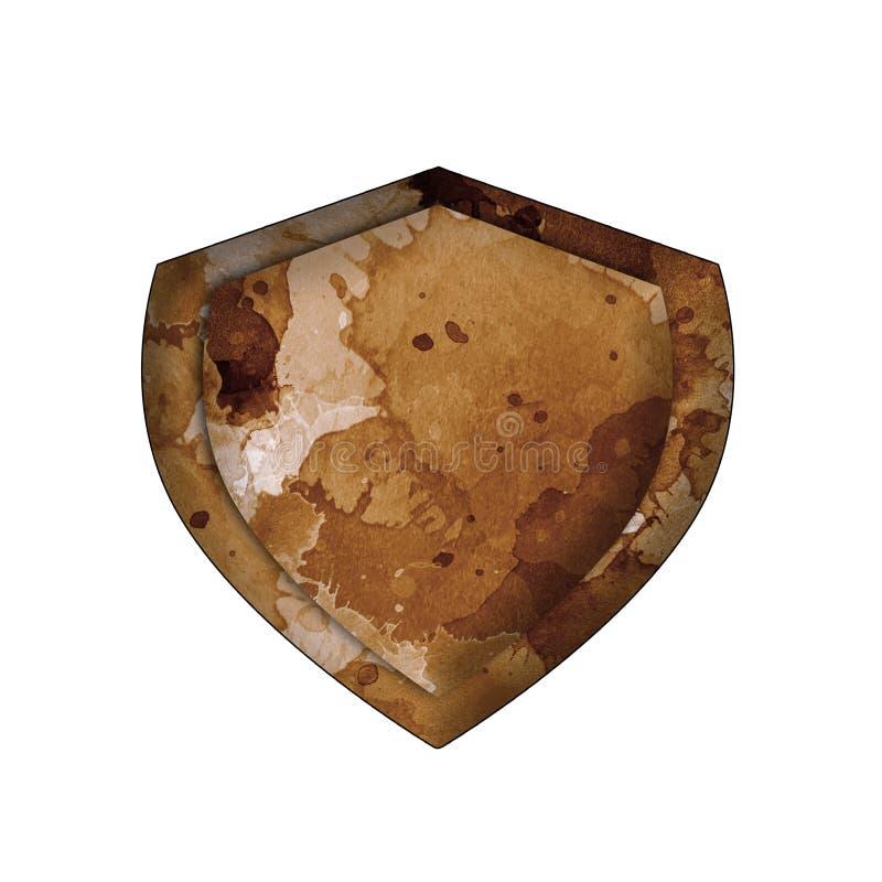 Escudo antiguo viejo del vintage aislado en el fondo blanco Escudo del concepto para el juego, la tarjeta o el app Elemento del d libre illustration